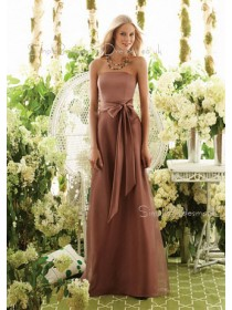 Sash A-line Chiffon Zipper Brown Bridesmaid Dress