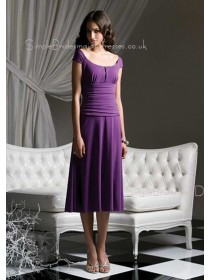 Grape Bateau Empire Zipper Chiffon Bridesmaid Dress