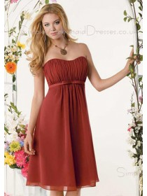Empire A-line Draped/Ruffles Burgundy Sleeveless Bridesmaid Dress