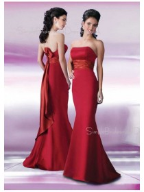 Ruffles/Sash Empire Strapless Floor-length Satin Bridesmaid Dress
