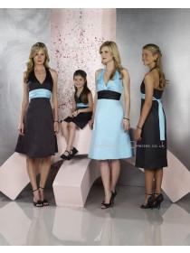Sleeveless Satin Knee-length Empire Zipper Bridesmaid Dress