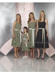Natural Chiffon Sleeveless Black Tea-length Bridesmaid Dress
