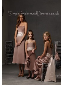 A-line Strapless Blush Zipper Sash Bridesmaid Dress