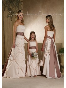 A-line Ruffles/Sash Satin Natural Ivory Bridesmaid Dress