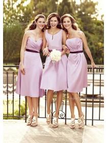 Sweetheart Lilac Tea-length A-line Natural Bridesmaid Dress
