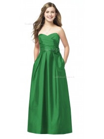 Green A-line Sweetheart Strapless Satin Junior Bridesmaid Dresses
