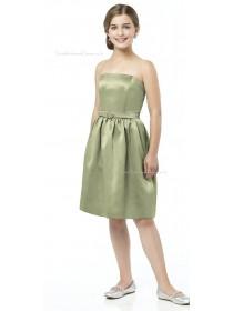 Spaghetti Sage Strapless Straps A-line Junior Bridesmaid Dresses
