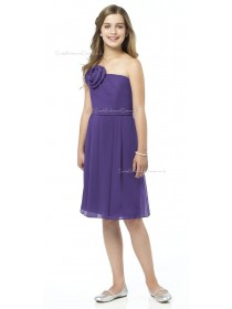 Spaghetti Chiffon A-line Straps Grape Junior Bridesmaid Dresses