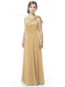 Shoulder One A-line Satin Floor-length Junior Bridesmaid Dresses