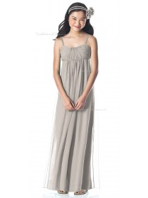 Tank Silver Sweetheart Chiffon Floor-length Junior Bridesmaid Dresses