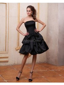 Dropped Knee-length Zipper Sleeveless Satin A-line Strapless Bow Black Bridesmaid Dress