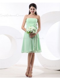 Flowers/Ruffles Zipper Sleeveless Knee-length Strapless Sage A-line Chiffon Natural Bridesmaid Dress