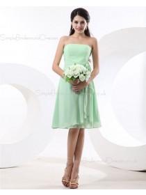 Flowers/Ruffles Zipper Sleeveless Knee-length Strapless Sage A-line Chiffon Natural Bridesmaid Dress