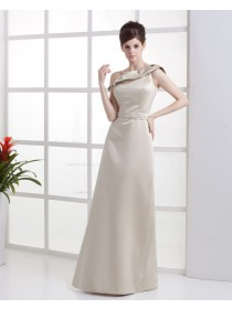 Sleeveless One-Shoulder Ruffles Natural A-line Champagne Satin Floor-length Zipper Bridesmaid Dress