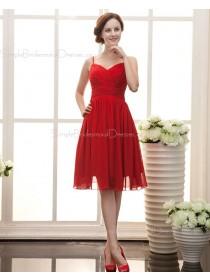 A-line Chiffon Ruffles/Draped Knee-length Sleeveless Spaghetti-Straps Zipper Red Natural Bridesmaid Dress