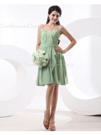 A-line Natural Sage Spaghetti-Straps Ruffles/Tiered Knee-length Chiffon Sleeveless Zipper Bridesmaid Dress