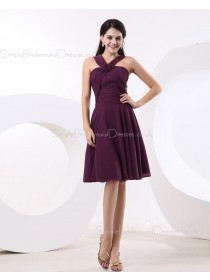 Floor-length Natural Grape A-line Ruffles/Flowers Chiffon Zipper Halter Sleeveless Bridesmaid Dress