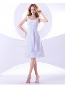 Straps Zipper A-line Knee-length Tiered/Ruffles Natural Sleeveless Chiffon White Bridesmaid Dress
