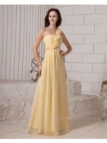 Ruffles/Flowers/Draped Floor-length Zipper Sleeveless Chiffon Natural One-Shoulder Daffodil A-line Bridesmaid Dress