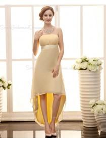 Zipper Daffodil A-line Chiffon Asymmetrical Sleeveless Ruffles/Sash Strapless Empire Bridesmaid Dress