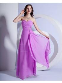 Chiffon Floor-length Zipper Sleeveless Ruffles/Draped/Beading A-line Lilac Sweetheart Natural Bridesmaid Dress