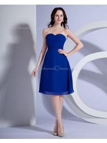 Royal-Blue A-line Chiffon Knee-length Sweetheart Natural Ruched/Sash Sleeveless Zipper Bridesmaid Dress