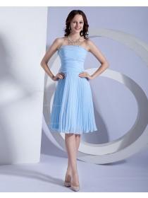 Strapless Zipper Light-Sky-Blue Sleeveless Floor-length A-line Chiffon Natural Ruched/Ruffles Bridesmaid Dress