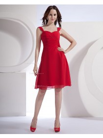 Ruffles Knee-length Chiffon A-line Straps Natural Zipper Red Sleeveless Bridesmaid Dress