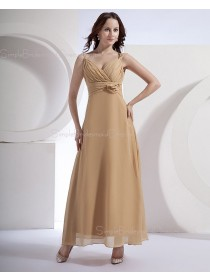 Champagne Natural Floor-length Ruffles/Flowers Zipper Spaghetti-Straps Chiffon Sleeveless A-line Bridesmaid Dress