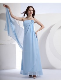 Zipper Ruffles/Draped/Flowers Strapless Light-Sky-Blue Chiffon Floor-length A-line Natural Sleeveless Bridesmaid Dress