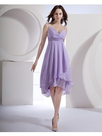 Zipper Empire A-line Sleeveless Lilac Asymmetrical Spaghetti-Straps Ruffles/Draped/Sash Chiffon Bridesmaid Dress