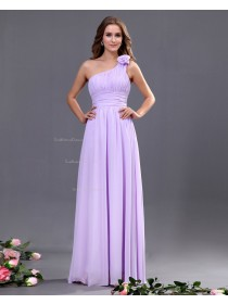 Lilac A-line Natural Sleeveless Zipper Ruffles/Draped/Flowers Floor-length Chiffon One-Shoulder Bridesmaid Dress