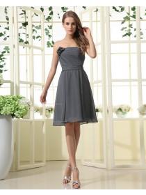 Sleeveless Ruffles/Flowers A-line Natural Strapless Dark-Navy Zipper Floor-length Chiffon Bridesmaid Dress