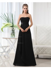 Sweetheart Floor-length Chiffon Natural Up Black A-line Lace Sleeveless Ruffles/Draped/Beading Bridesmaid Dress