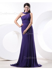 A-line Chiffon Zipper Regency Sleeveless Natural Ruffles/Draped One-Shoulder Floor-length Bridesmaid Dress