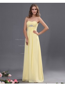 Zipper Chiffon Sweetheart Floor-length Ruffles/Beading/Draped Natural Daffodil A-line Sleeveless Bridesmaid Dress