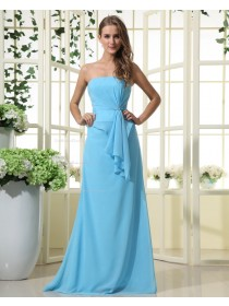 Chiffon Sleeveless Natural Floor-length Strapless Blue Ruffles/Tiered Zipper Sheath Bridesmaid Dress