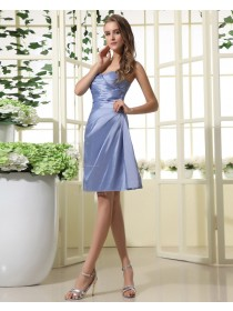 Taffeta Natural Sweetheart Sleeveless Mini Floor-length Zipper Lavender Ruffles Bridesmaid Dress