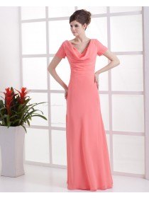 Short-Sleeve Zipper Natural Watermelon Ruffles Sheath Chiffon Floor-length V-neck Bridesmaid Dress