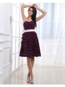 Short-length Chiffon Sweetheart Grape Natural A-line Sleeveless Zipper Ruffles/Tiered/Bow Bridesmaid Dress