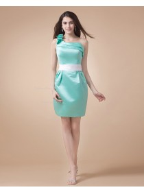 Sage Mini Satin Ruffles Natural Floor-length Zipper One-Shoulder Sleeveless Bridesmaid Dress