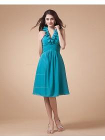 Chiffon Ruffles/Tiered Knee-length A-line Zipper Sleeveless Natural V-neck Blue Bridesmaid Dress