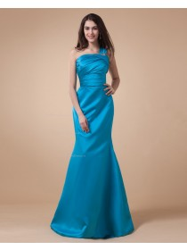Ruffles/Tiered/Beading Sleeveless Blue Satin Floor-length Mermaid One-Shoulder Natural Zipper Bridesmaid Dress