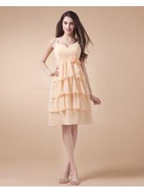 Spaghetti-Straps Natural Chiffon Sleeveless Zipper Daffodil A-line Ruffles/Tiered/Flowers Knee-length Bridesmaid Dress