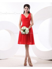 V-neck Zipper Red Knee-length Natural Ruffles Sleeveless Chiffon A-line Bridesmaid Dress