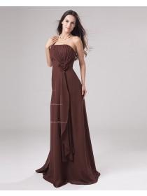 A-line Sleeveless Ruffles/Flowers/Draped Strapless Natural Floor-length Chiffon Zipper Chocolate Bridesmaid Dress