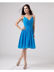 Spaghetti-Straps Chiffon Zipper Ruffles Knee-length Natural A-line Blue Sleeveless Bridesmaid Dress