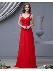 Floor-length Chiffon A-line Red Straps Ruffles/Flowers Natural Sleeveless Zipper Bridesmaid Dress