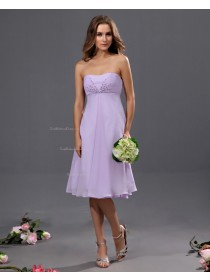 Sweetheart Knee-length Lilac Ruffles/Beading Natural Chiffon Sleeveless A-line Zipper Bridesmaid Dress