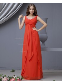 A-line Sleeveless Red Floor-length Chiffon Bateau Zipper Natural Ruffles/Beading/Tiered Bridesmaid Dress